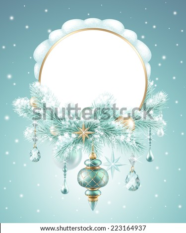 winter festive background, Christmas tree decoration, round banner - stock photo