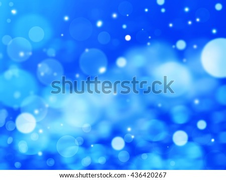 Winter Festive Christmas blue abstract background with bokeh lights and stars  - stock photo