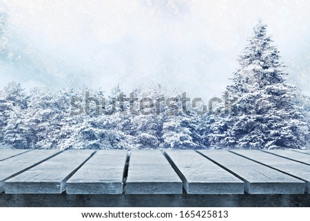 Winter fir trees and empty table - stock photo
