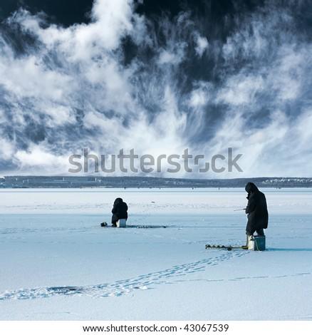 Winter fishing - stock photo