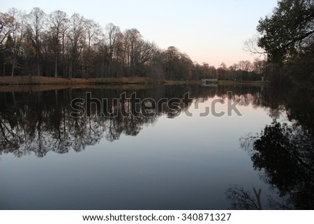 Winter forest lake. - stock photo
