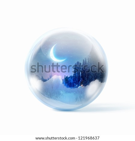 Winter forest landscape at night inside a glass sphere - stock photo
