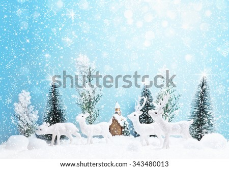 Winter forest landscape with deer and snow. Christmas background - stock photo