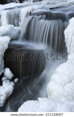 Winter forest stream. - stock photo
