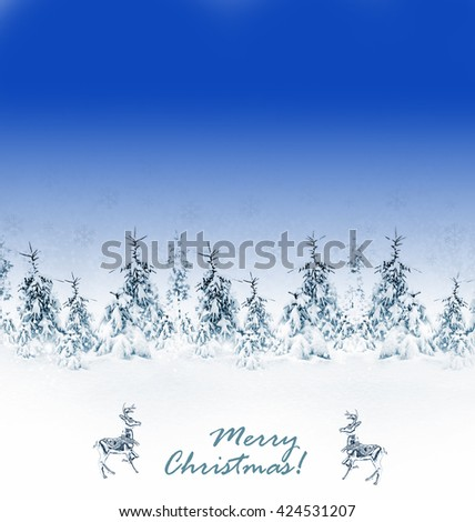 Winter Forest. Winter landscape. christmas card. Snow covered trees - stock photo