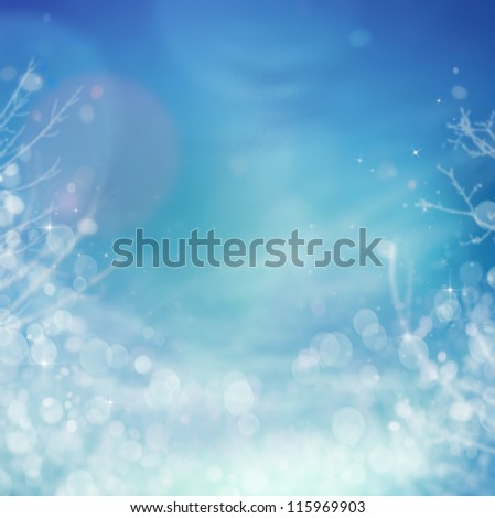 Winter frozen background. Winter Christmas concept with tree branches, snow and bokeh lights. - stock photo