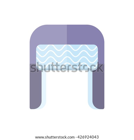 Winter fur blue wool hat icon. Knitted winter woolen cap isolated on white background. Flat icon winter snowboard hat cap ear-flaps.  illustration - stock photo