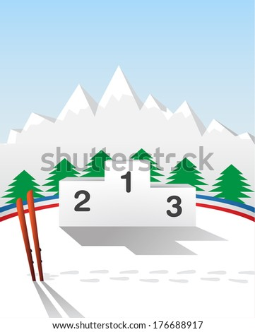 winter games podium - stock photo