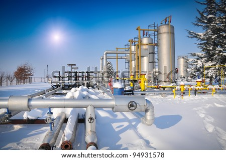 Winter gas industry - stock photo