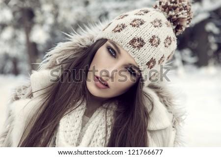 winter girl - stock photo