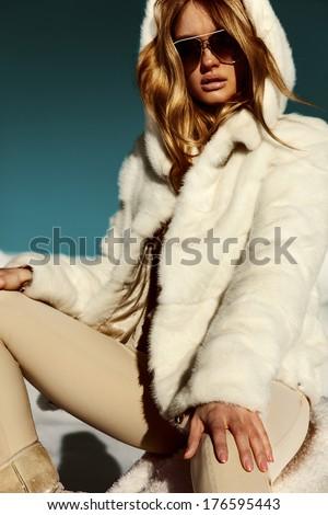 Winter Girl in Luxury Fur Coat. Fashion Fur. Landscape - stock photo