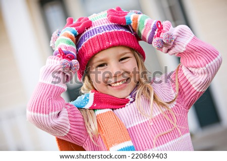 Winter: Girl Outside Ready For Snow - stock photo