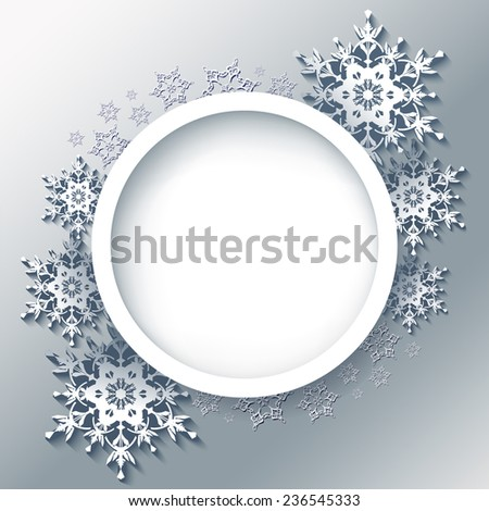 Winter grey background, beautiful round frame with 3d ornate snowflakes. Trendy New Year and Christmas celebratory card with place for text. Raster illustration - stock photo