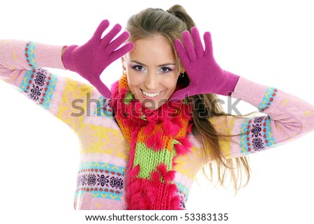 winter happy young woman - stock photo