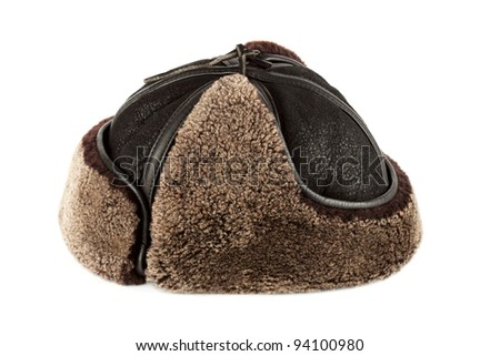 Winter hat ear flaps on the white background - stock photo