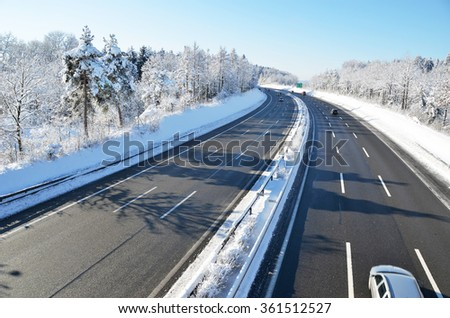 Winter highway - stock photo