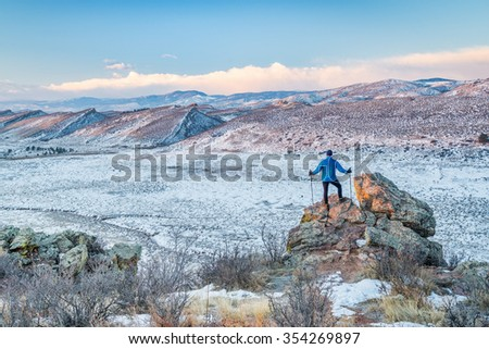 winter hiking foothills of Rocky Mountains  in northern Colorado, Coyote RIdge Natural Area near Fort Collins - stock photo