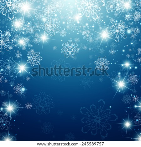 Winter Holiday Background With Snowflakes and Copyspace - stock photo
