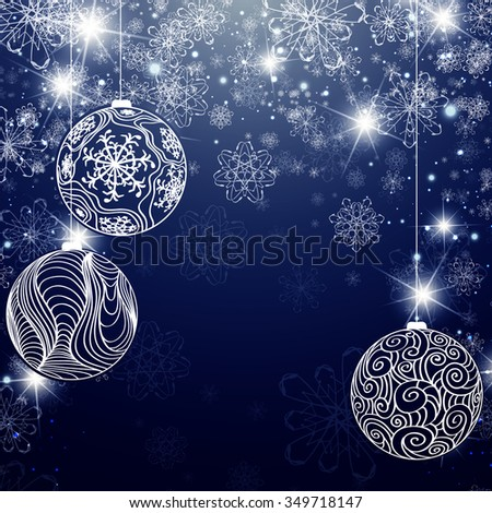 Winter Holiday Background With Snowflakes, Balls and Copyspace - stock photo