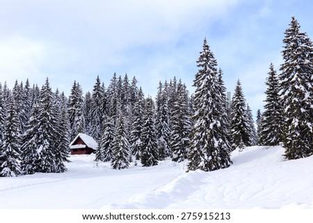 Winter holiday house in slovenia alps - stock photo