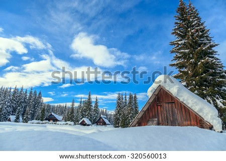Winter holiday house in slovenia alps-Europe - stock photo