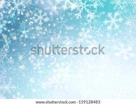 Winter Holiday Snow Background. Christmas Abstract Backdrop with Snowflakes - stock photo