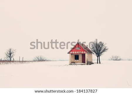 Winter house - stock photo