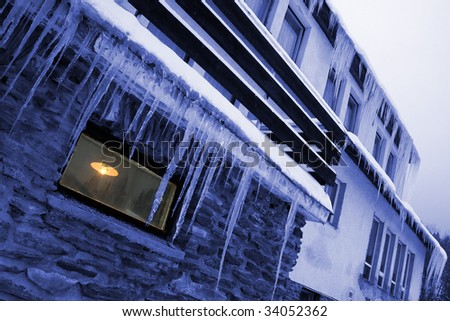 Winter house - close up - stock photo