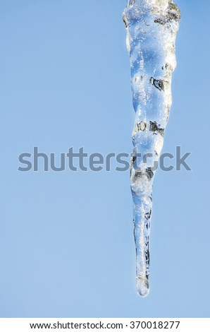 Winter Icicle Over Blue Sky, Copyspace - stock photo