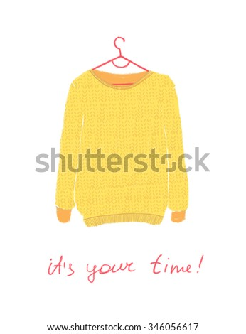 Winter illustration. Sweater, it's your time. - stock photo