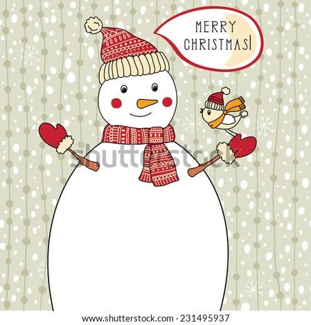 Winter illustration with snowman. Christmas illustration - stock photo