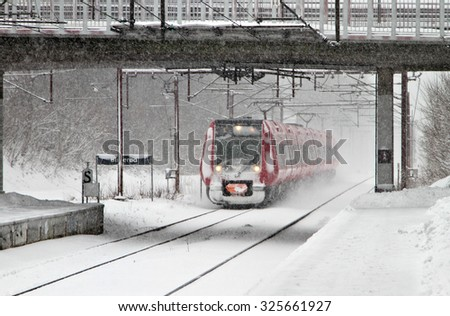 Winter in a village in denmark with a lot of snow - stock photo