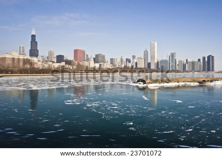 Winter in Downtown Chicago, IL. - stock photo