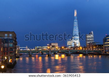 Winter in London's City - stock photo