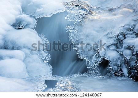 Winter in river - stock photo