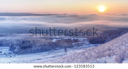 winter in siberia, winter in russia, cold winter, siberian winter, winter of russia, - stock photo