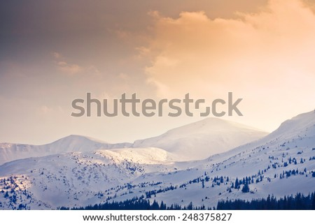 Winter in the Carpathians. Ski resort Dragobrat. Snow-capped mountains against a beautiful sky and pine forests - stock photo