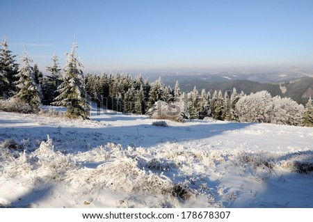Winter in the Czech hills - stock photo