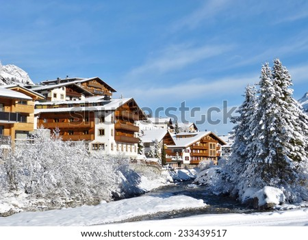 Winter in the famous village of Lech am Arlberg in the Austrian alps - stock photo