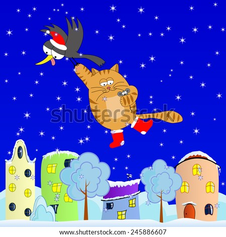 Winter journey of the crow, cat and mouse - stock photo