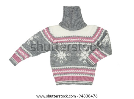 Winter knit sweater on white background - stock photo