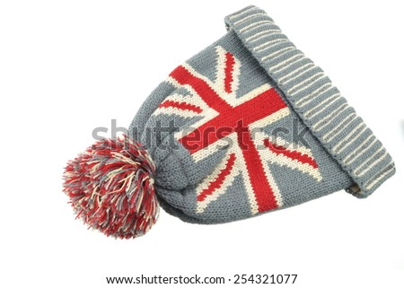 Winter Knitted Wool Ski Hat With UK Flag Pattern Isolated On White Background - stock photo