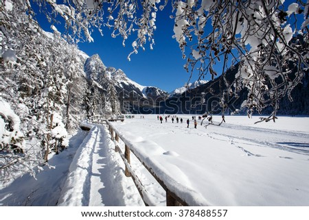 Winter landscape and winter forest near Antholz Lake, South Tirol, Italy. - stock photo
