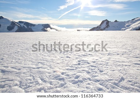 Winter landscape at Mountain Cook National Park New Zealand - stock photo