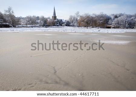 Winter landscape - Godalming, England 3 - stock photo