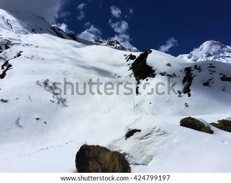 Winter landscape, Himalaya mountains. Way to top mountain, Path to mountain, Way to Everest base camp, three passes trek, Everest area, summer Himalaya, Sagarmatha national park, Khumbu valley, Nepal - stock photo