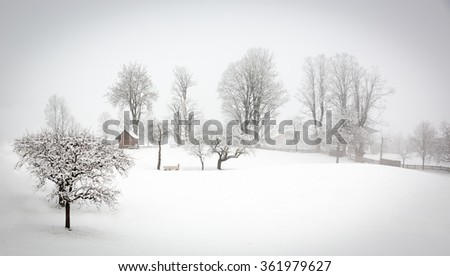 Winter landscape in Alps, Tyrol, Wildschoenau, Austria - stock photo