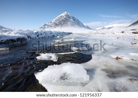 Winter landscape in Glencoe in the Scottish Highlands. - stock photo
