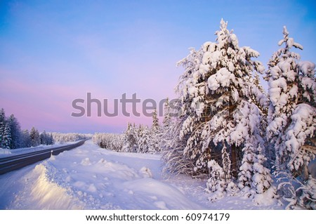 Winter landscape in Lapland Finland. The road, snow-covered trees, polar night. - stock photo