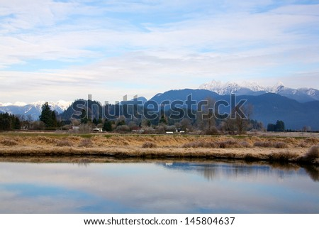 Winter landscape in Pitt Meadows British Columbia - stock photo